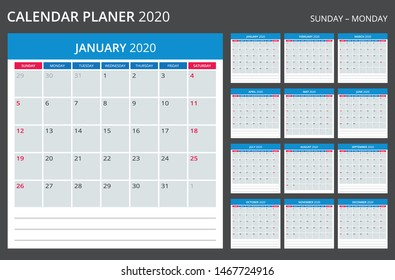 Calendar Planner for 2020 year. Weeks start from Monday