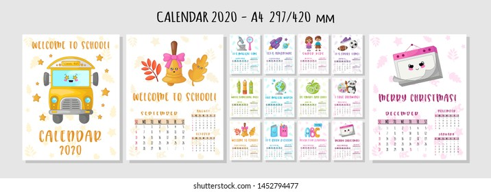 Calendar or planner A4 format for 2020 with kawaii school supplies, stationery, characters - students, children or kids, motivating phrases Cover and monthly pages. Vector template