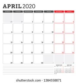 Calendar planner for April 2020. Week starts on Monday. Printable vector stationery design template