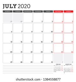 Calendar planner for July 2020. Week starts on Monday. Printable vector stationery design template