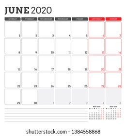 Calendar planner for June 2020. Week starts on Monday. Printable vector stationery design template