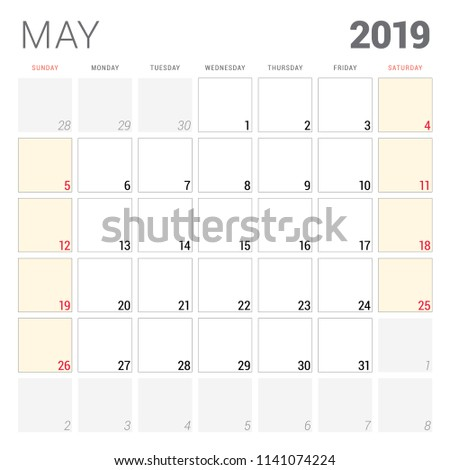 Calendar Planner May 2019 Week Starts Stock Vector Royalty Free