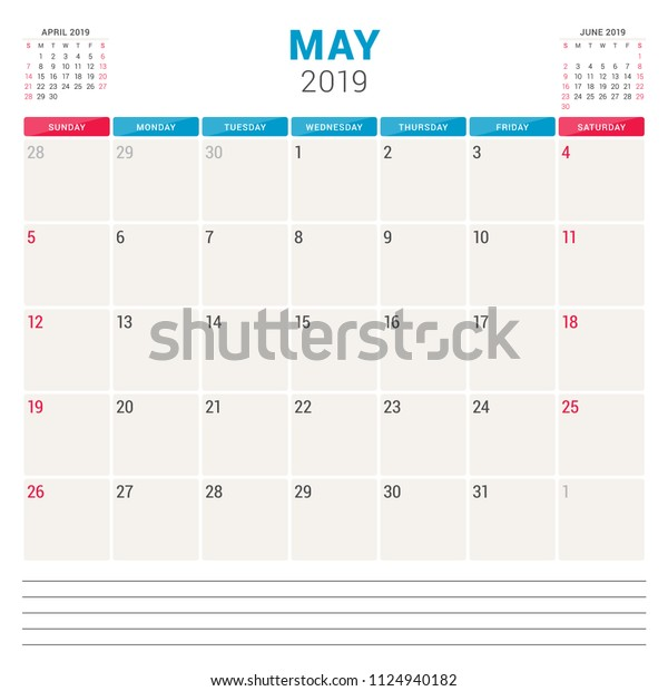 Calendar Planner May 2019 Week Starts Stock Vector (Royalty
