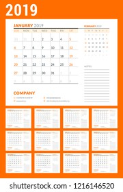 Calendar planner stationery design template. 2019 year. Set of 12 pages. Week starts on Sunday. Vector illustration