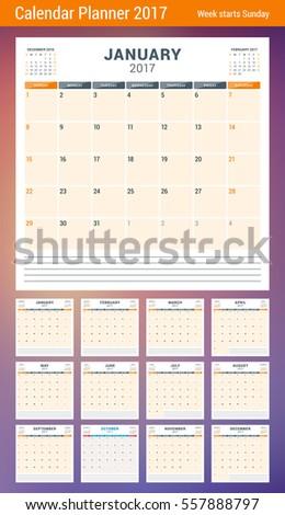 calendar planner template 2017 year week stock vector royalty free