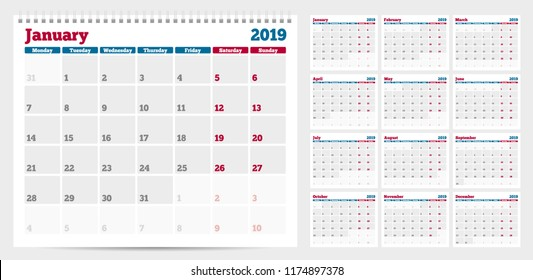 Calendar planner template 2019. Week start from Monday. Set of 12 Months. Ready for print. Vector Illustration