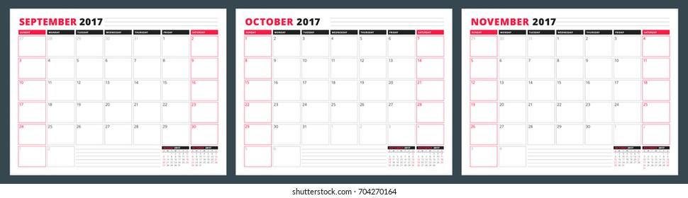 Calendar planner template for autumn 2017. September, October, November. Design print vector template