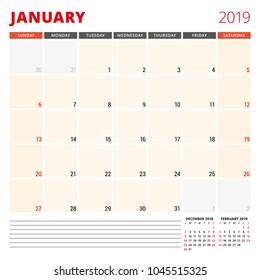 Calendar planner template for January 2019. Week starts on Sunday. Vector illustration