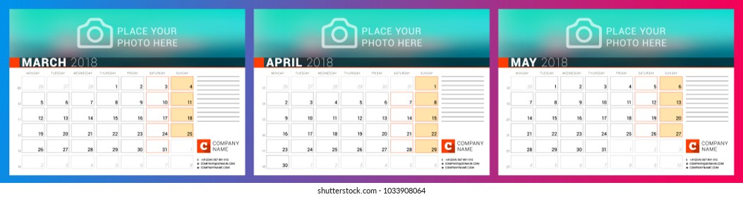 Calendar planner template for spring 2018. March, April, May. Design print vector template