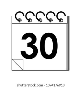 Calendar planner with thirty day in black and white