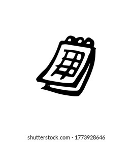 calendar planning - vector doodle illustration isolated on white background. notebook drawing black. business goals