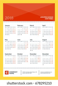 Calendar poster for 2018 year. Week starts on Monday. 12 Months on Page. Vector Design Print Template with Place for Photo and Company Information