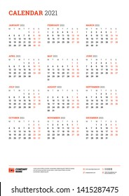 Calendar poster for 2021 year. Week starts on Monday. Printable vector stationery design template