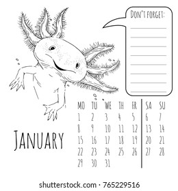 Calendar reminder for january with cute graphic axolotl in vector 2018