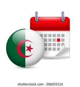 Calendar and round Algerian flag icon. National holiday in Algeria