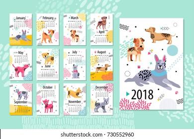 日历样本 2018 动物, 页面与月份和狗图像在他们与抽象图案矢量插图隔离在蓝色背景上