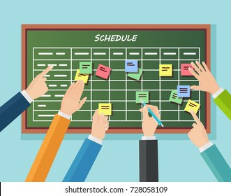 Calendar schedule board with collaboration plan isolated on background. Company business team working together planning and scheduling their operations. Vector illustration Flat cartoon design