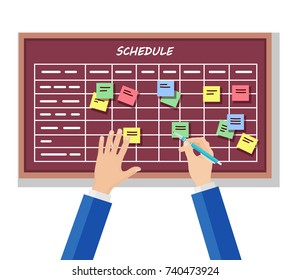 Calendar schedule board with collaboration plan, stickers isolated on white background. Business man planning, scheduling work. People make timeline. Daily routine. Vector flat cartoon illustration