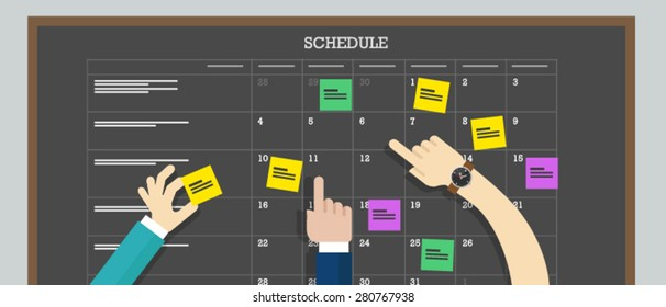 calendar schedule board with hand collaboration plan