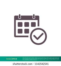 Calendar, Schedule Icon Vector Logo Template