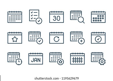 Calendar and schedule line icons. Vector icon set.