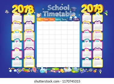 Calendar and School timetable for students or pupils on 2018-2019 year