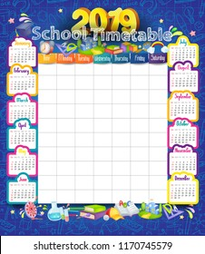 Calendar and School timetable for students or pupils on 2019 year