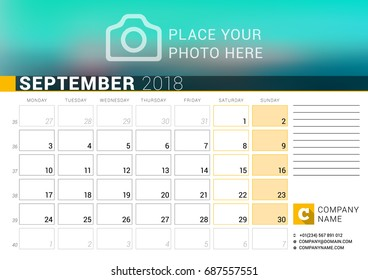 calendar for september 2018 vector design print template with place for photo logo and