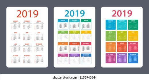 Calendar set 2019 year - vector illustration. Week starts on Sunday