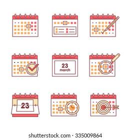 Calendar set. Thin line art icons. Flat style illustrations isolated on white.