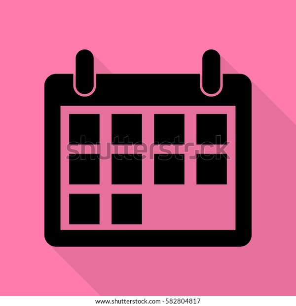 Calendar sign illustration. Black icon with flat style shadow path on pink background.