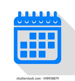 Calendar sign illustration. Vector. Azure icon with flat style shadow path on white background.