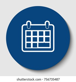 Calendar sign illustration. Vector. White contour icon in dark cerulean circle at white background. Isolated.