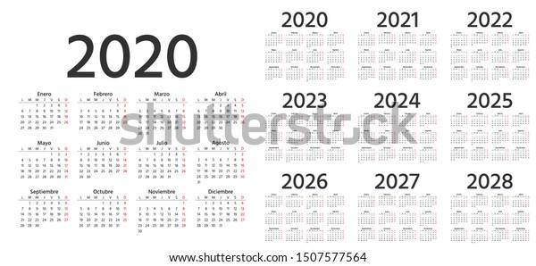Calendario 2020 2021 2022 Vector de stock (libre de regalías) sobre Calendario Español 2020