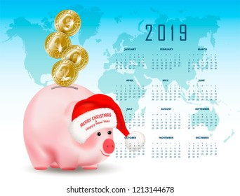 Calendar with Symbolic shiny metal golden coins with numbers 2019 falling into money pig bank. Santa Claus hat with greetings. Conceptual realistic vector illustration on background with world map