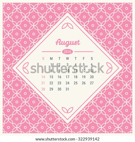 Calendar Template 2016 With Retro Label On Trendy Mono Line Seamless Background Vector Illustration