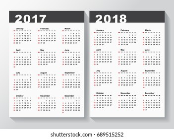 Calendar Template for 2017 and 2018 years.  Week starts from Sunday. Vector illustration