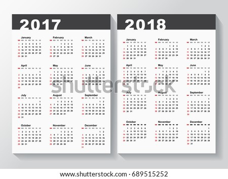 calendar template for 2017 and 2018 years week starts from sunday vector illustration