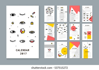 Calendar template for 2017 there with open eyes and Lips Simple Calendar is a modern design. Style has a thin line.
