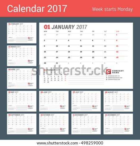calendar template 2017 year business planner stock vector royalty