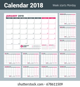 Calendar Template for 2018 Year. Business Planner. Stationery Design. Week starts on Monday. Set of 12 Months Vector Illustration