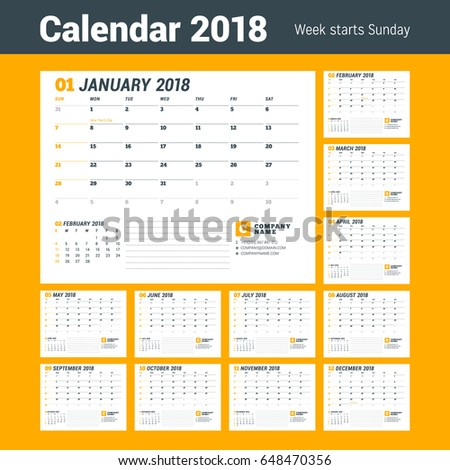 Calendar template 2018 year business planner stock vector royalty calendar template for 2018 year business planner template stationery design week starts on friedricerecipe Choice Image