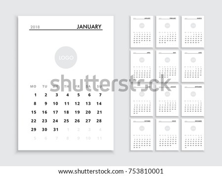Calendar template 2018 year planner vector stock vector royalty calendar template for 2018 year planner vector diary in a minimalist style corporate and wajeb Images