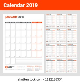 Calendar Template for 2019 year. Business Planner Template. Stationery Design. Week starts on Monday. Portrait orientation. Vector Illustration
