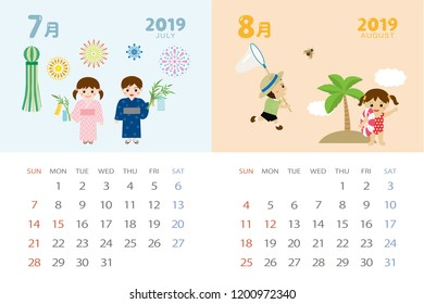 calendar template for 2019 year with japanese events july augustjuly