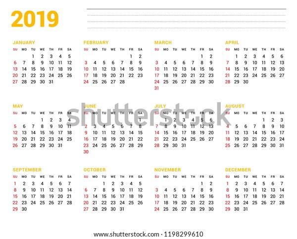 Calendar Template 2019 Year Stationery Design Stock Vector