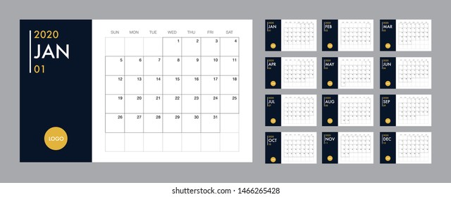 Calendar template for 2020 year. Planner diary in a minimalist style. Corporate and business calendar. 2020 calendar in minimal table and blue and yellow color event planner, Week Starts Sunday