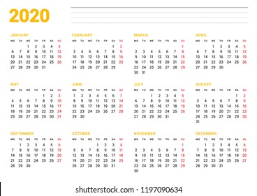 Calendar template for 2020 year. Stationery design. Week starts on Monday. 12 Months on the page. Vector illustration