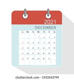Calendar template for 2021 year. December. Week Starts Sunday.