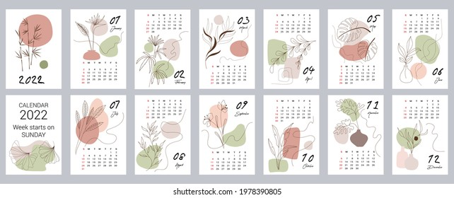 Calendar template for 2022. Vertical design with abstract floral natural patterns. Editable vector illustration, set of 12 months with cover. Week starts on Sunday.